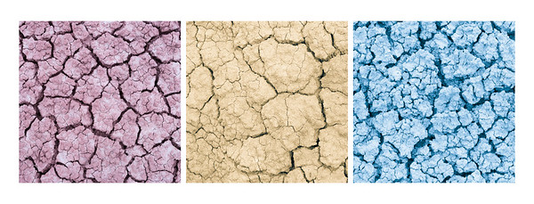 """Parched""  When I was in the Vermilion Cliffs, I came across some layered colorful, dried, cracked earth. Each section was a different color. Once I looked at the images on the computer, only the pinkish-red image showed much of a hue. So I pumped up the colors in Lightroom, then made a triptych. Taken in the Vermilion Cliffs Wilderness, Arizona, USA."