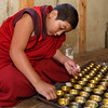 Replacing candles at Trongsa Dzong