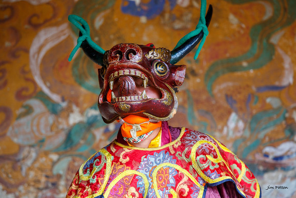 Tamshing Festival performer with typical mask (Bumthang)