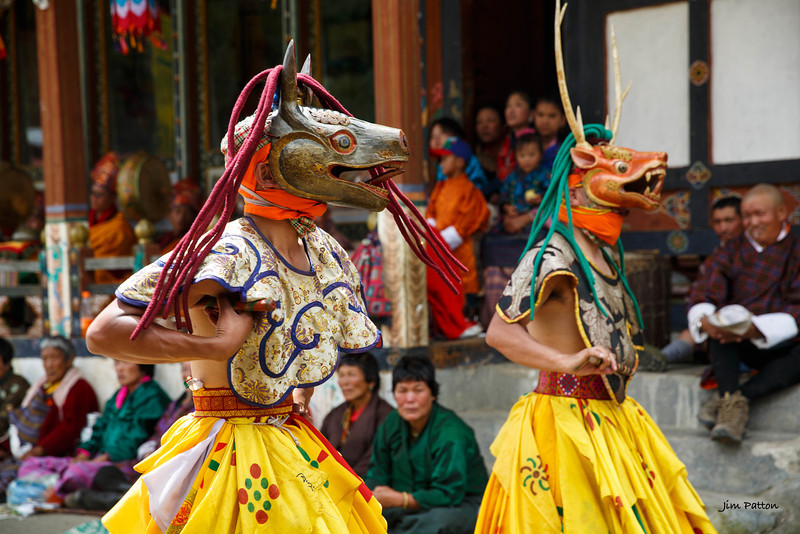 Tamshing Festival dancers performing (Bumthang)