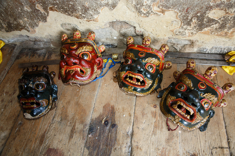 Masks waiting for their performers at Tamshing Festival (Bumthang)