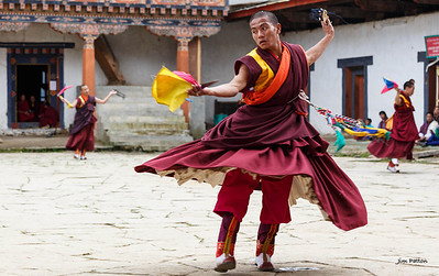 Dancing practicing for Gangtey Festival (Wangdue Phodrang)