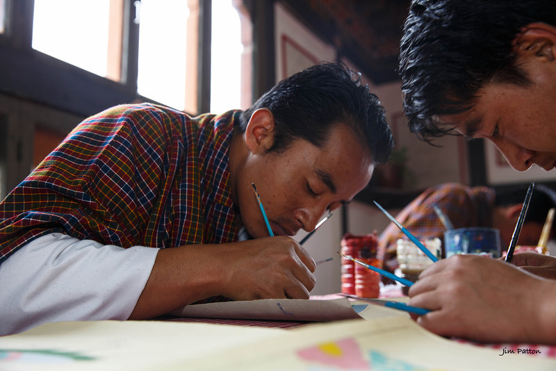 Young painters at Zoric Chusum, an institute for training in Bhutan's 13 traditional arts (Punakha)