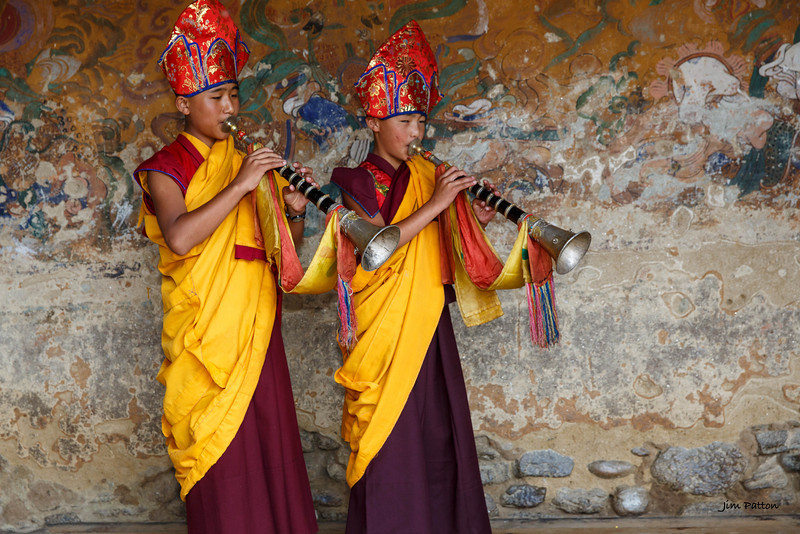 Tamshing festival horn players (Bumthang)