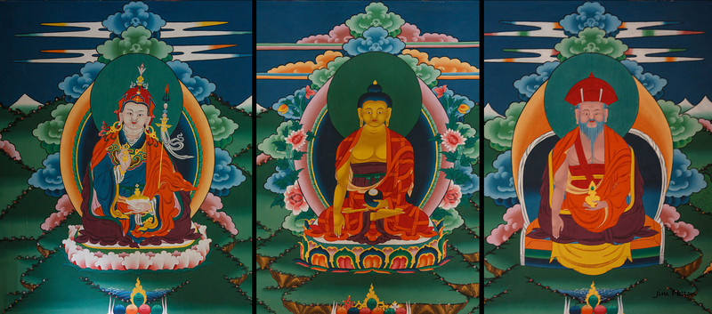 Triptych near Tachogang Temple - Guru Romboche (brought Bhuddhism to Bhutan), Buddha, C Chamdrung (united Buddhism and Bhutan)