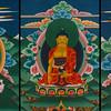 Triptych near Tachogang Temple - Guru Romboche (brought Bhuddhism to Bhutan), Buddha, C Chamdrung (united Buddhism and Bhutan)