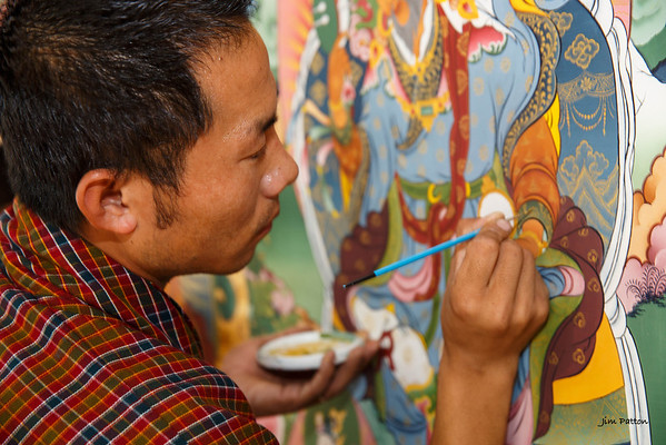 Young painter at Zoric Chusum, an institute for training in Bhutan's 13 traditional arts (Punakha)