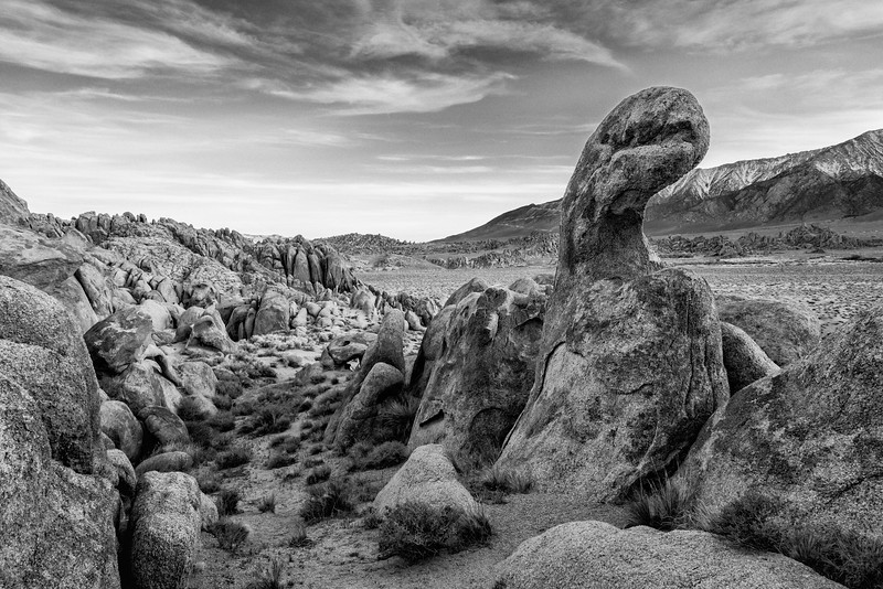 An unusually-shaped rock formation. Taken in the Alabama Hills, a BLM area in California, USA.