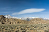 A lenticular cloud floats above Mt. Whitney, the highest peak in the Lower 48, at 14,505 feet. Taken in the Alabama Hills, a BLM area in California, USA.