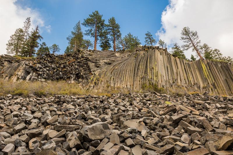 Columnar basalt formed by lava flow. Taken at Devils Postpile National Monument, California, USA.