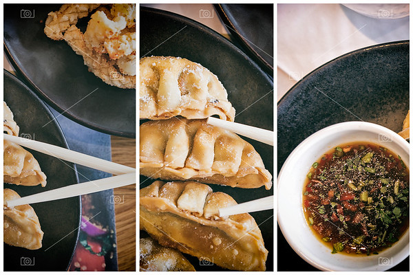 Fried gyoza and crispy squid triptych