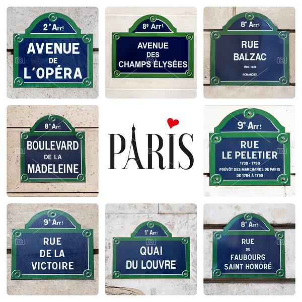 Paris street sign collage
