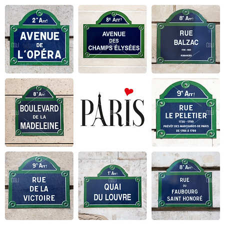 Paris street sign collage