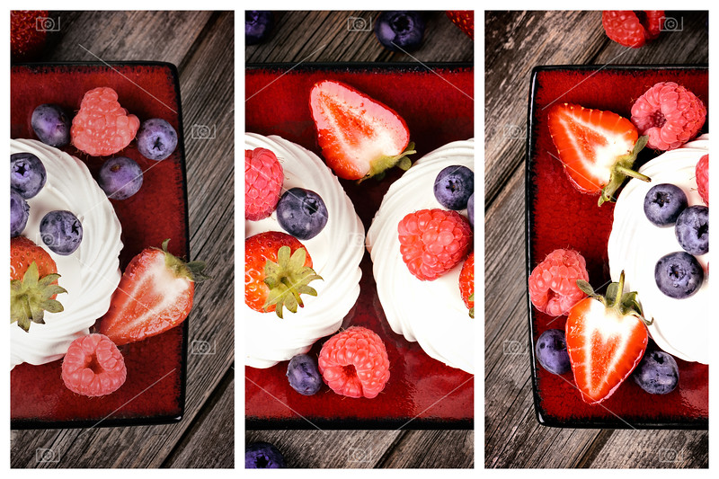 Summer fruit platter triptych