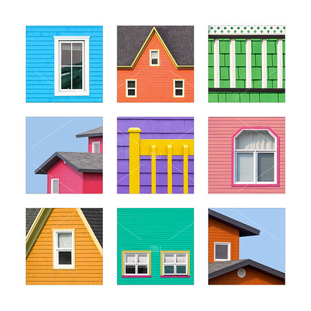 Collage of details of the colourful houses of the Magdalen Islands