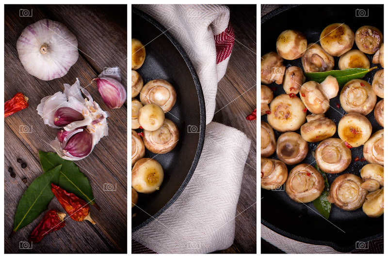 Garlic mushrooms triptych