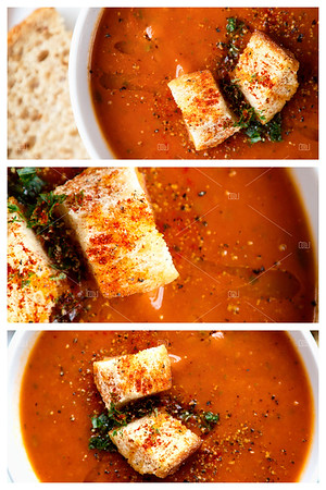 Tomato soup and croutons collage