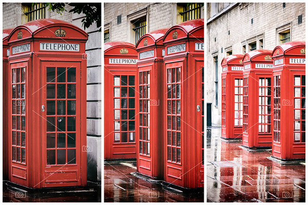 Covent Garden phone boxes triptych