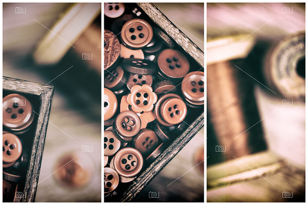 Faded retro styled red buttons and thread triptych
