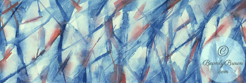 Blue, White and Coral Abstract Panoramic Painting - - Beverly Brown Artist