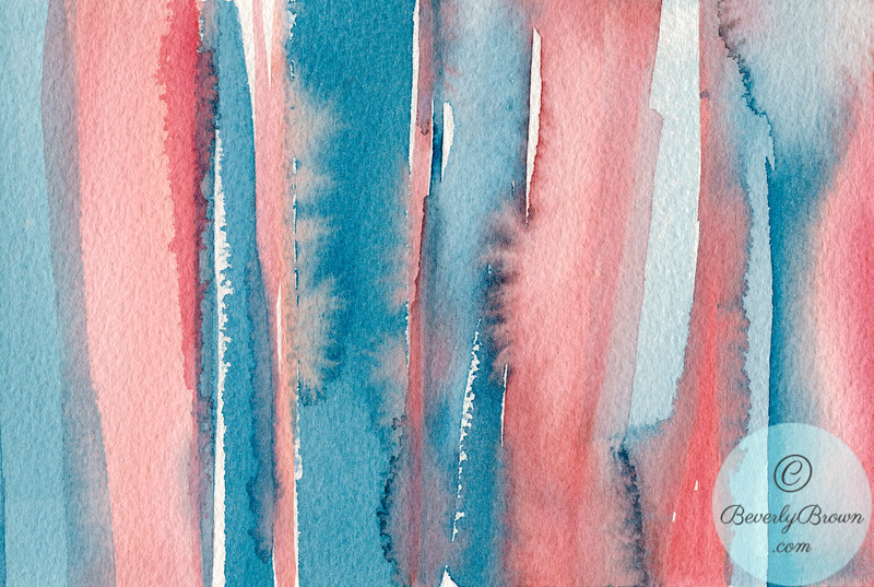 Abstract Watercolor Painting - Coral and Teal Blue Stripes  - Beverly Brown Artist