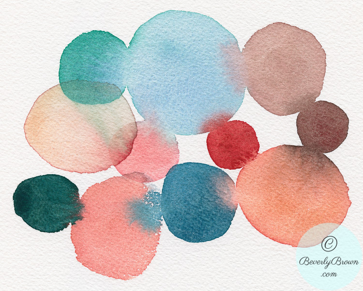 Teal and Coral Abstract Watercolor - Beverly Brown Artist