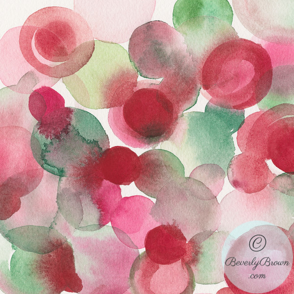 Red Green Abstract Watercolor Painting - Beverly Brown Artist