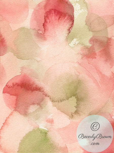 Blush Pink Green Persimmon - Beverly Brown Artist