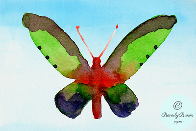 Fantasy butterfly - red, green, purple  - Beverly Brown Artist