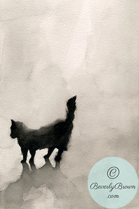 Black cat watercolor  - Beverly Brown Artist