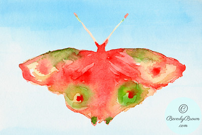 Fantasy butterfly - red and green  - Beverly Brown Artist