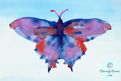 Fantasy butterfly - blue, red, purple  - Beverly Brown Artist