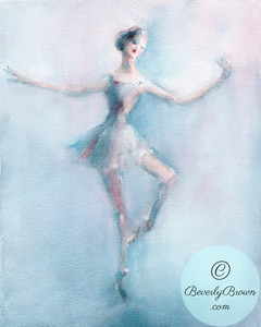 Ballerina Pale Blue and Pink | Beverly Brown Artist