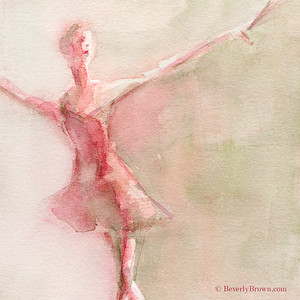 Rose and Green Ballerina - Beverly Brown Artist