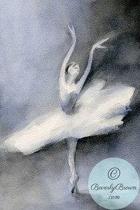 Ballerina in a white tutu.  - Beverly Brown Artist