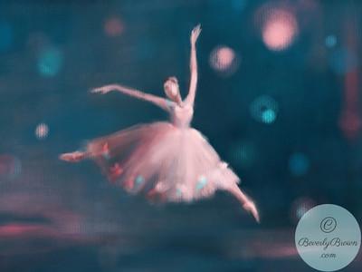 Ballet Dancer Pink and Peacock Blue - Beverly Brown Artist