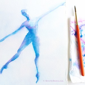 Blue Purple Ballerina A la Seconde - Beverly Brown Artist