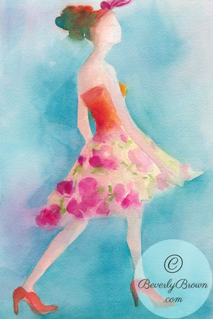 An ethereal watercolor fashion illustration of a woman wearing a skirt printed with dark pink flowers on a turquoise background.