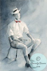 Man in vintage shirt with red bow tie.  - Beverly Brown Artist