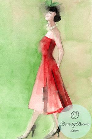 A watercolor painting of a woman wearing a red strapless 1950's vintage inspired red cocktail dress and a green cocktail hat with a veil.