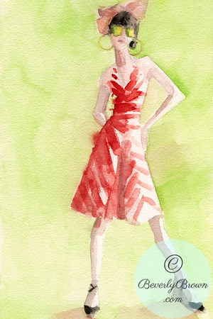 A watercolor painting of a woman wearing a red and white striped sundress, sunglasses, a silk headscarf and black espadrille style shoes.