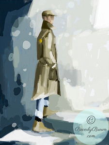 Man wearing a trench coat and cap - Beverly Brown Artist