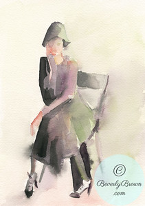 Woman in a cloche hat.  - Beverly Brown Artist