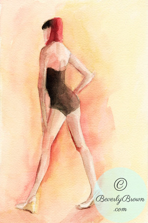 A watercolor painting of a woman wearing a vintage inspired 1940s style bathing suit and a red snood.