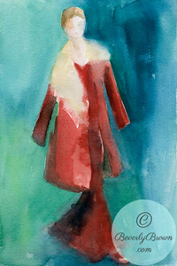 Woman in Red Coat with Fur Collar  - Beverly Brown Artist