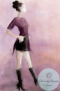 Woman in purple shirt and black shorts  - Beverly Brown Artist