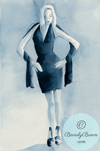 Woman in dark blue cocktail dress, front view  - Beverly Brown Artist