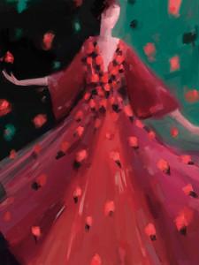 Fashion Illustration - Red and Orange Petal Dress