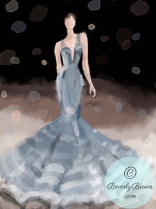 Woman in Silvery Grey Evening Gown