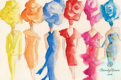 Fashion models in flower shaped hats  - Beverly Brown Artist